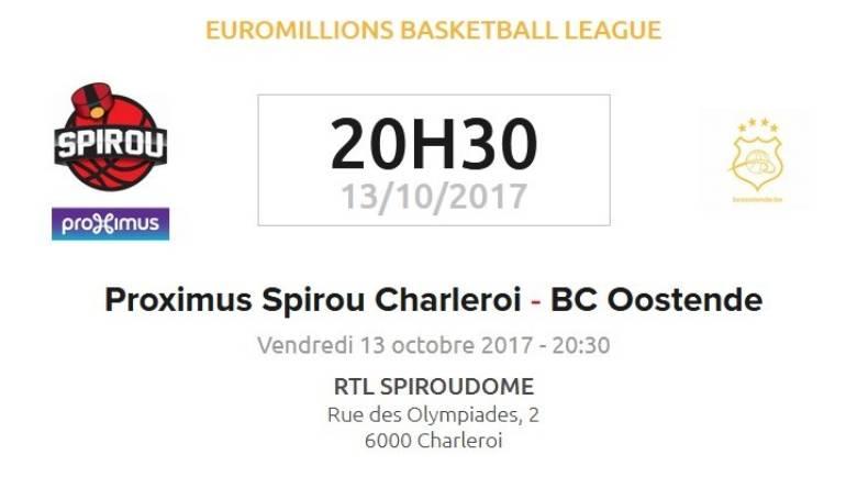 Remportez vos places pour le choc entre les Proximus Spirou et le BC Oostende!